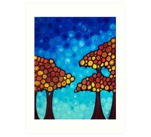 The Dreaming Trees - Abstract Landscape Trees Blue Sky Art Print Art Print