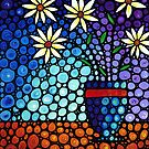 You Cant Hide Beautiful - Mosaic Painting Flower Art Print by Sharon Cummings