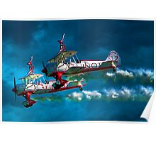 Daredevil Wingwalkers Do Headstands Above Biplanes Poster
