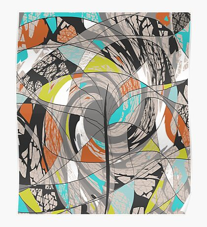 Swirling Abstract Tree Poster