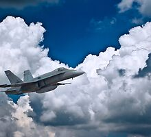 F18 Hornet against Stark Clouds by JohnKarmouche
