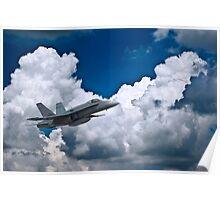 F18 Hornet against Stark Clouds Poster