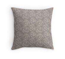 Rose doodle - taupe and fog Throw Pillow