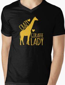 CRAZY Giraffe Lady  Mens V-Neck T-Shirt