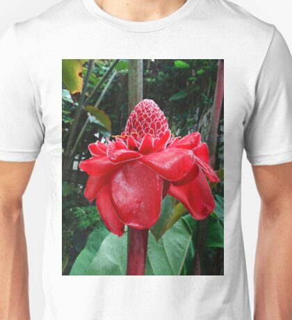 Red torch ginger flower Unisex T-Shirt