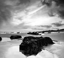 Rock Pool in Black and White by postmansmith
