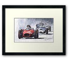 Red Car Ferrari D246 1958 Monza Phill Hill Framed Print