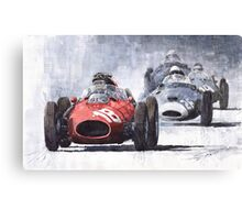 Red Car Ferrari D246 1958 Monza Phill Hill Canvas Print