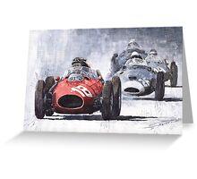 Red Car Ferrari D246 1958 Monza Phill Hill Greeting Card