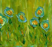 BLUE FLOWERS IN MY GARDEN,  9/11 by Janai-Ami