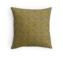 Rose doodle - olive and gold Throw Pillow