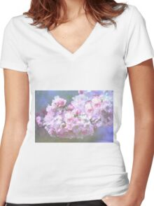 Cherry Blossom in Spring Women's Fitted V-Neck T-Shirt
