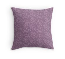 Rose doodle - grape and lavender Throw Pillow