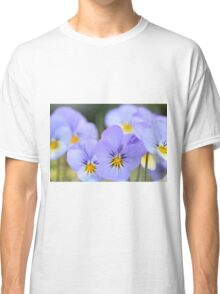 Pale Blue Pansies Classic T-Shirt