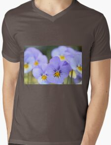 Pale Blue Pansies Mens V-Neck T-Shirt