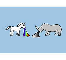 Unicorns Vomit Rainbows, Rhinos Vomit Greyscale Photographic Print