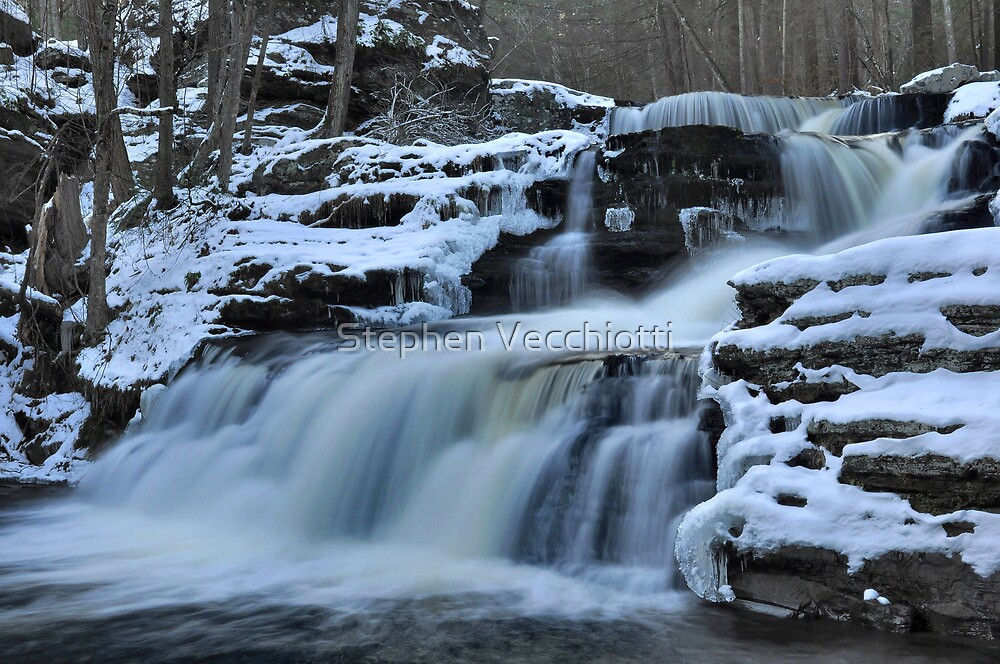 Factory Falls In Winter by Stephen Vecchiotti