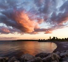 Colorful Summer Sunset - Lake Ontario Impressions by Georgia Mizuleva