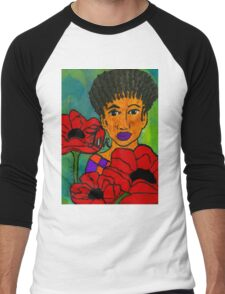 She Loves Poppies Men's Baseball ¾ T-Shirt