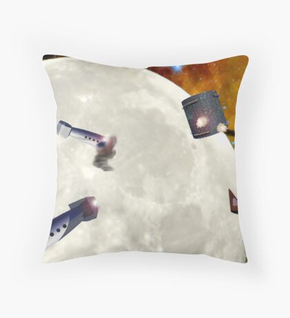 Planetary Fortress Attack Throw Pillow