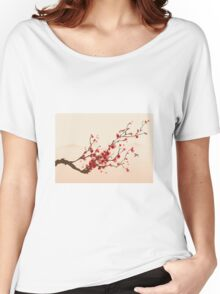 Whimsical Red Cherry Blossom Tree Women's Relaxed Fit T-Shirt