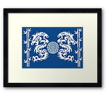 Blue and White Dragons and Bamboo Framed Print