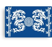Blue and White Dragons and Bamboo Canvas Print