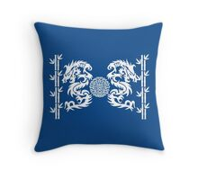 Blue and White Dragons and Bamboo Throw Pillow