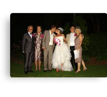 Bride and Groom With  Parents Canvas Print