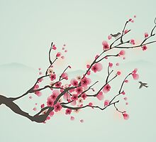 Whimsical Pink Cherry Blossom Tree by RumourHasIt