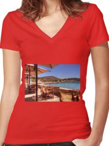 The bar at Pondamos Women's Fitted V-Neck T-Shirt