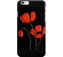 Red Poppies On Black by Sharon Cummings iPhone Case/Skin