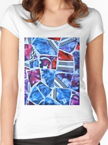 Mosaic Blue Women's Fitted Scoop T-Shirt