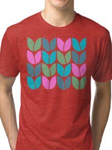 Tulip Knit (Blue Pink Green) Tri-blend T-Shirt