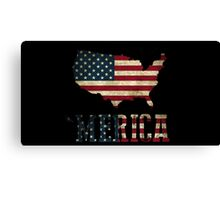 'Merica with U.S. Outline Canvas Print