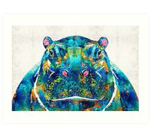 Hippopotamus Art - Happy Hippo - By Sharon Cummings Art Print
