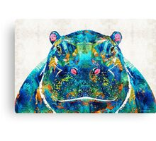 Hippopotamus Art - Happy Hippo - By Sharon Cummings Canvas Print
