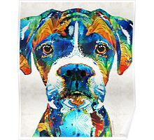 Colorful Boxer Dog Art By Sharon Cummings  Poster