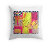 Ellie the Upcycled Elephant   Throw Pillow