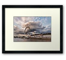Impressions of London - London Eye Dramatic Skies Framed Print