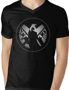 Metallic Shield Mens V-Neck T-Shirt