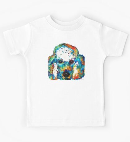 Colorful Poodle Dog Art by Sharon Cummings Kids Tee