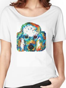 Colorful Poodle Dog Art by Sharon Cummings Women's Relaxed Fit T-Shirt