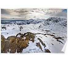 Snowy views over the Langdale valley Poster