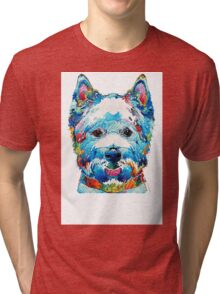 Colorful West Highland Terrier Dog Art Sharon Cummings Tri-blend T-Shirt