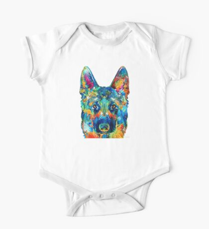 Colorful German Shepherd Dog Art By Sharon Cummings One Piece - Short Sleeve
