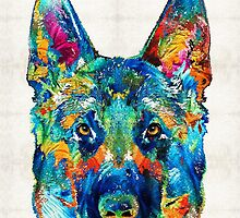 Colorful German Shepherd Dog Art By Sharon Cummings by Sharon Cummings