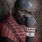 Masai  Warrior in Africa by Maureen Clark