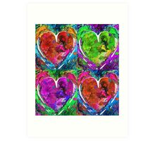 Colorful Pop Hearts Love Art By Sharon Cummings Art Print