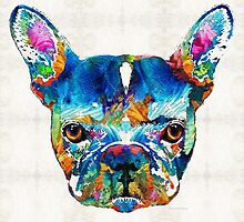 Colorful French Bulldog Dog Art By Sharon Cummings by Sharon Cummings